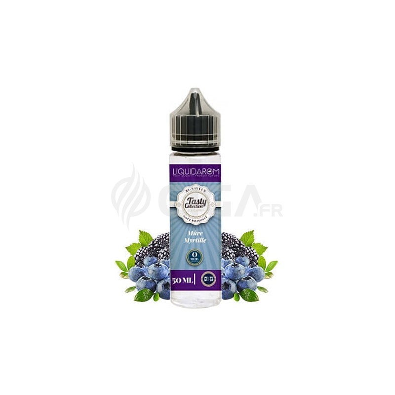 E-liquide Mûre Myrtille en flacon de 50ml de Tasty Collection de Liquidarom.